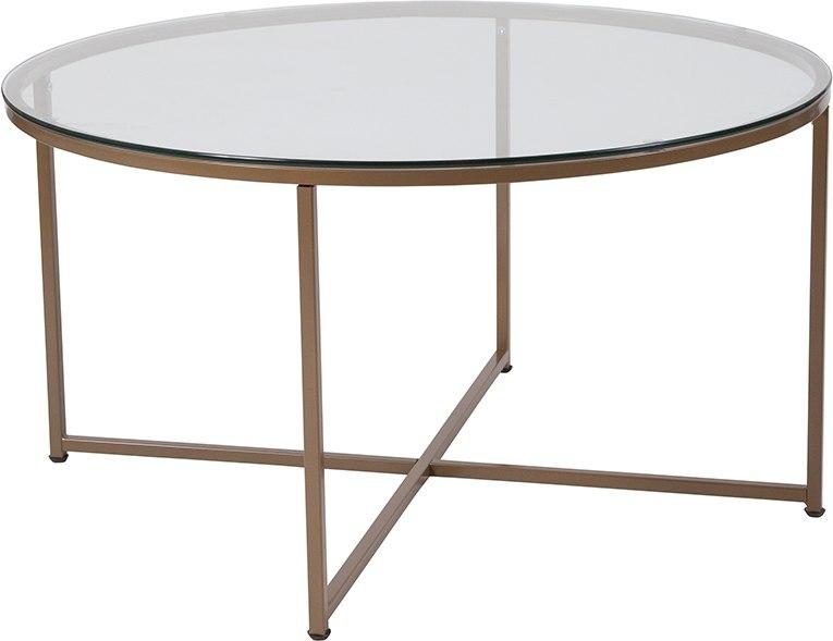 Flash Furniture NAN-JH-1786CT-GG Greenwich Collection Glass Coffee Table with Matte Gold Frame