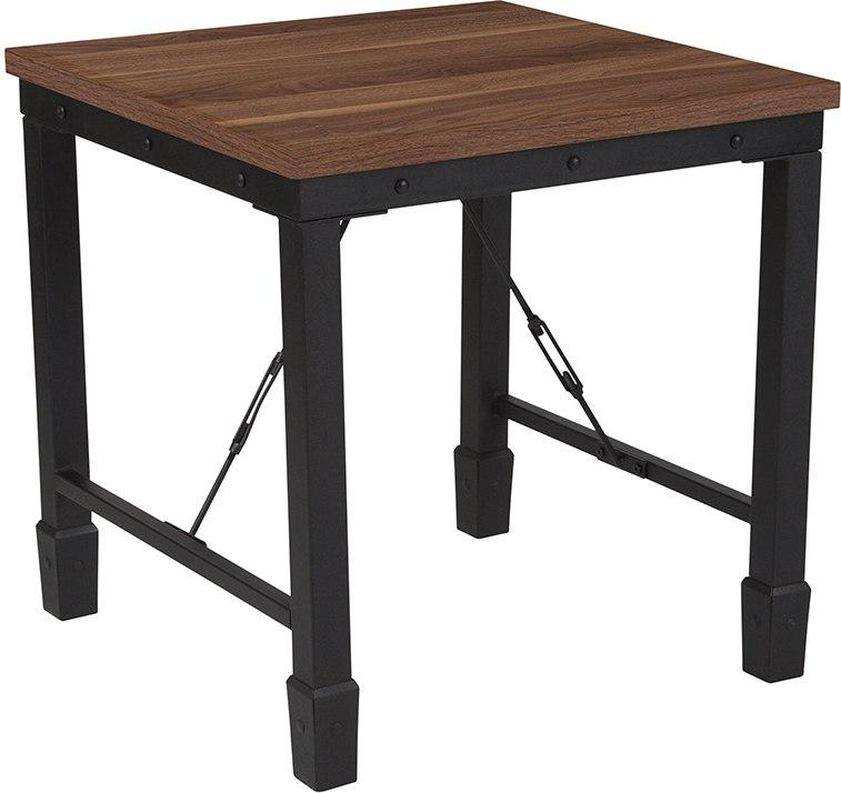 Flash Furniture NAN-JH-1790ET-GG Brentwood Collection Rustic Walnut Finish Side Table with Industrial Style Steel Legs