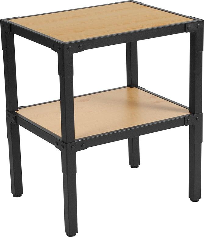 Flash Furniture NAN-JH-1797ET-GG Holmby Collection Knotted Pine Wood Grain Finish Side Table with Black Metal Legs