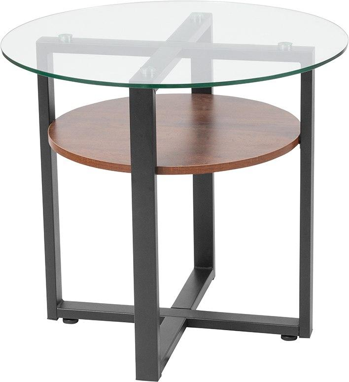 Flash Furniture NAN-JH-1798ET-GG Princeton Collection Glass Side Table with Rustic Oak Wood Finish and Black Metal Legs