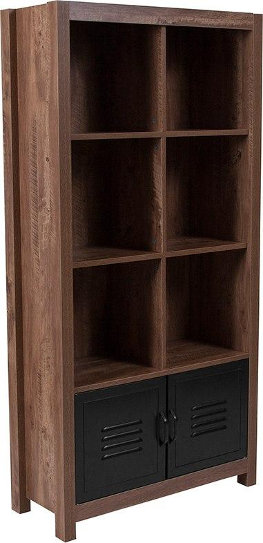 Flash Furniture NAN-JN-21736BF-GG New Lancaster Collection Crosscut Oak Wood Grain Finish Storage Shelf with Metal Cabinet Doors