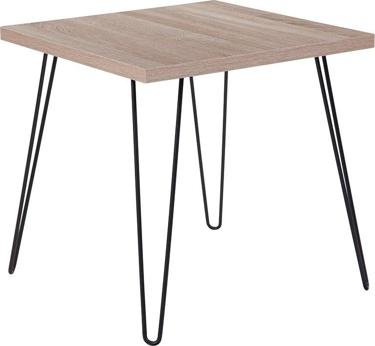 Flash Furniture NAN-JN-2628ET-GG Union Square Collection Sonoma Oak Wood Grain Finish End Table with Black Metal Legs