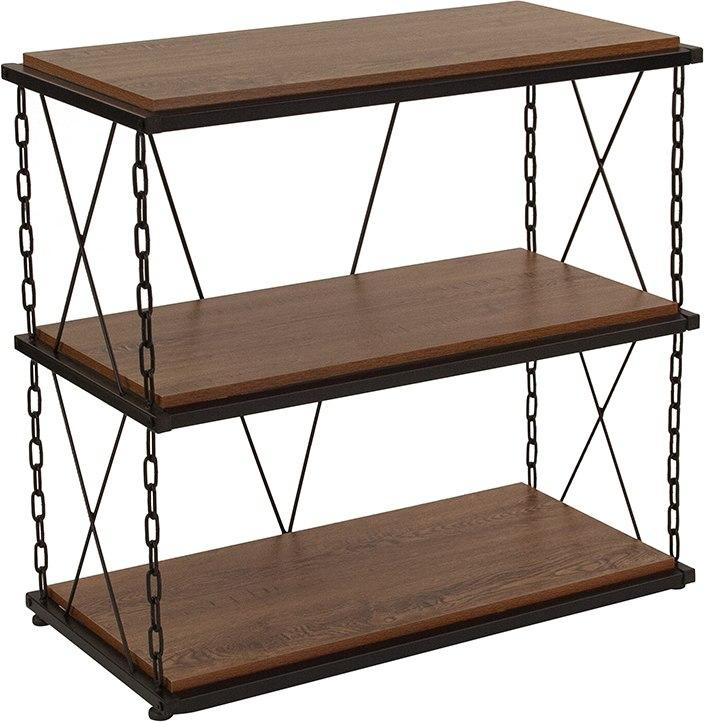 Flash Furniture NAN-JN21720PS-GG Vernon Hills Collection Antique Wood Grain Finish Two Shelf Bookshelf with Chain Accent Metal Frame