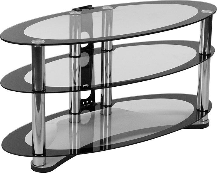 Flash Furniture NAN-OPAL-GG Westchester Two-Tone Glass TV Stand with Shelves and Chrome Tubing