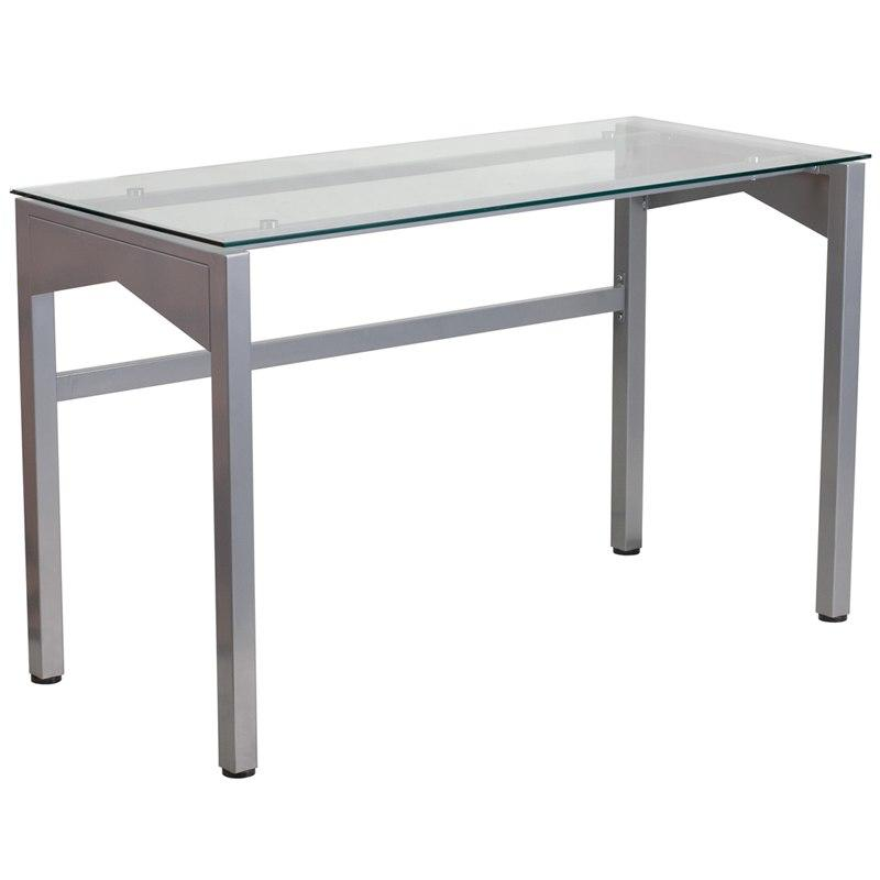 Flash Furniture NAN-YLCD1219-GG Contemporary Desk with Clear Tempered Glass Top