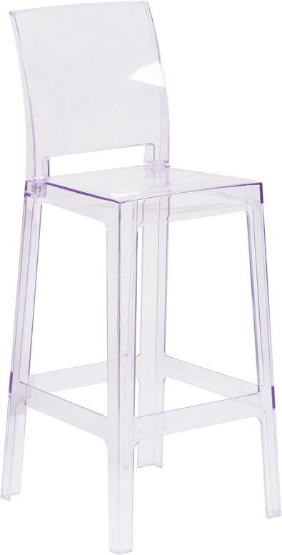 Flash Furniture OW-SQUAREBACK-29-GG Ghost Barstool with Square Back in Transparent Crystal