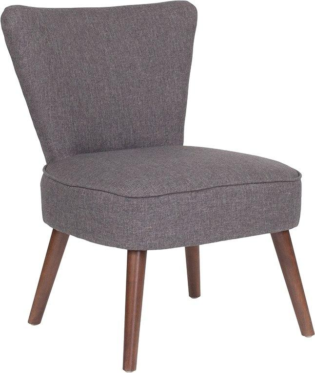 Flash Furniture QY-A02-GY-GG HERCULES Holloway Series Gray Fabric Retro Chair