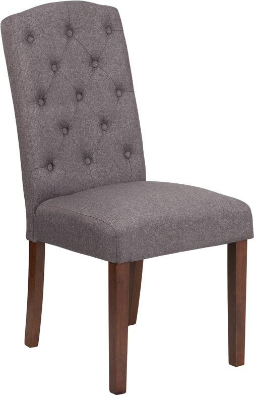 Flash Furniture QY-A18-9325-GY-GG HERCULES Grove Park Series Gray Fabric Tufted Parsons Chair