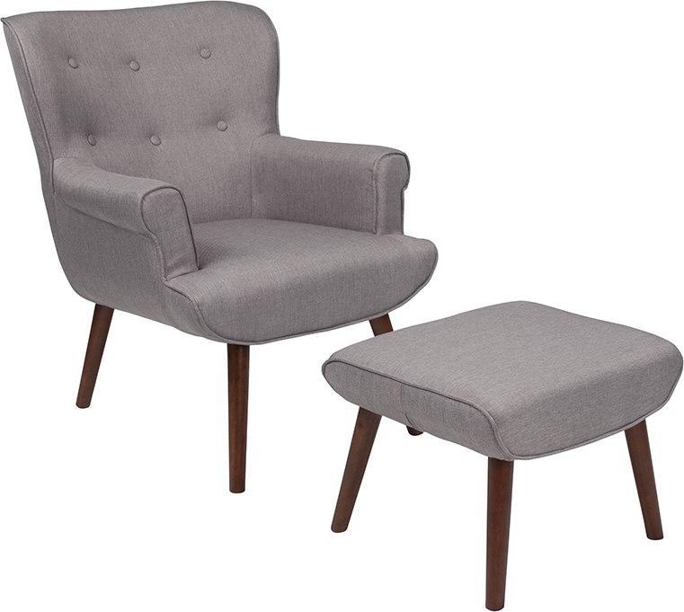 Flash Furniture QY-B39-CO-LGY-GG Bayton Upholstered Wingback Chair with Ottoman in Light Gray Fabric