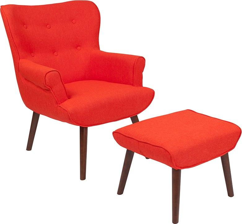 Flash Furniture QY-B39-CO-OR-GG Bayton Upholstered Wingback Chair with Ottoman in Orange Fabric