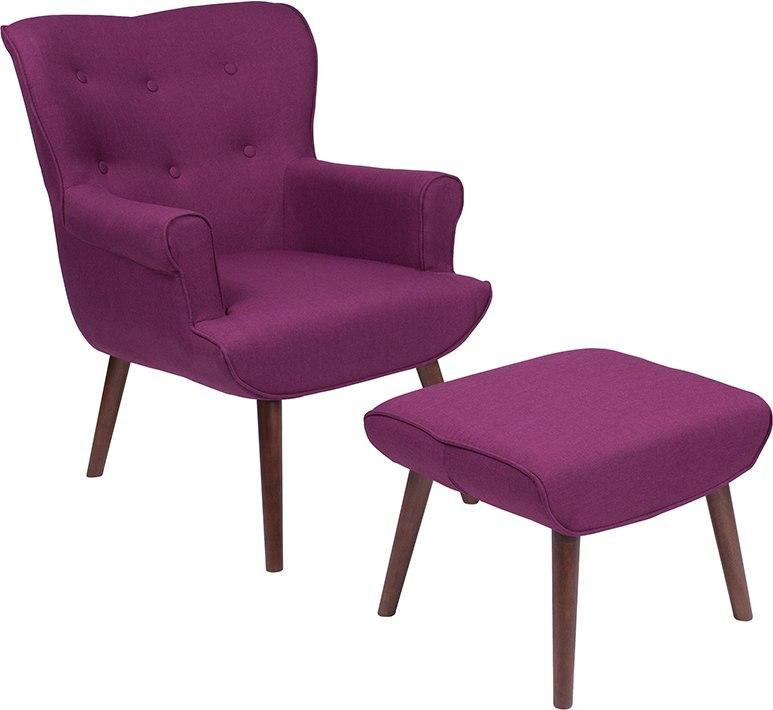 Flash Furniture QY-B39-CO-PRP-GG Bayton Upholstered Wingback Chair with Ottoman in Purple Fabric