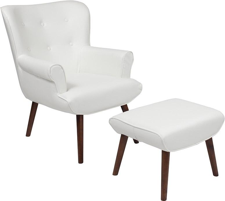 Flash Furniture QY-B39-CO-WHL-GG Bayton Upholstered Wingback Chair with Ottoman in White Leather