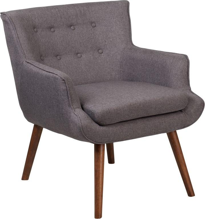 Flash Furniture QY-B84-GY-GG HERCULES Hayes Series Gray Fabric Tufted Arm Chair