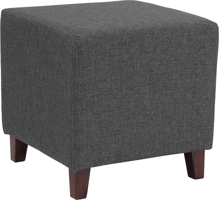Flash Furniture QY-S09-DGY-GG Ascalon Upholstered Ottoman Pouf in Dark Gray Fabric