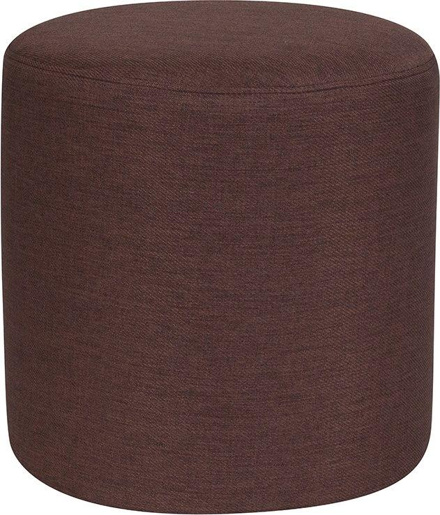 Flash Furniture QY-S10-5001-1-BRN-GG Barrington Upholstered Round Ottoman Pouf in Brown Fabric