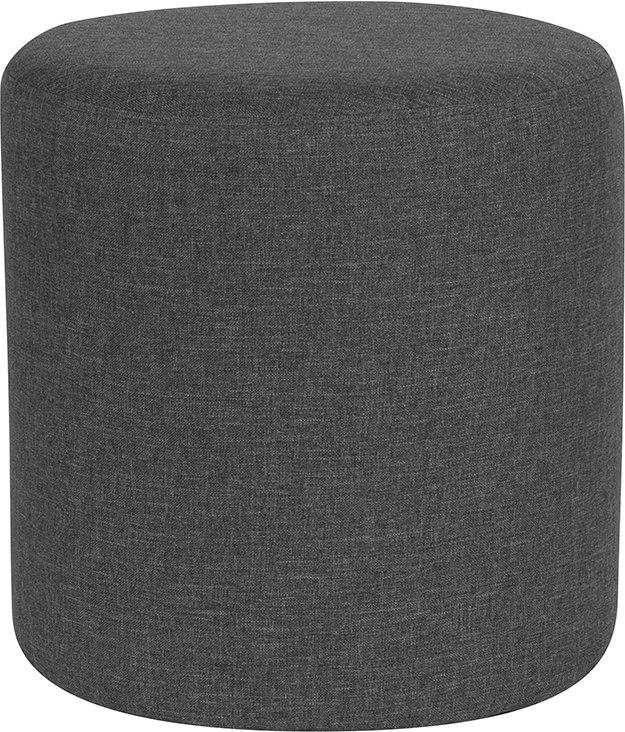 Flash Furniture QY-S10-5001-1-DGY-GG Barrington Upholstered Round Ottoman Pouf in Dark Gray Fabric