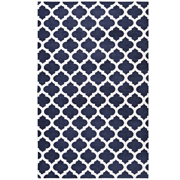 Modway Lida Moroccan Trellis 5x8 Area Rug in Navy and Ivory