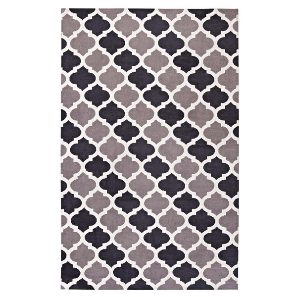 Modway Lida Moroccan Trellis 5x8 Area Rug in Charcoal and Black