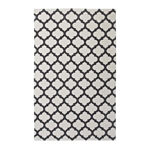 Modway Lida Moroccan Trellis 5x8 Area Rug in Ivory and Charcoal