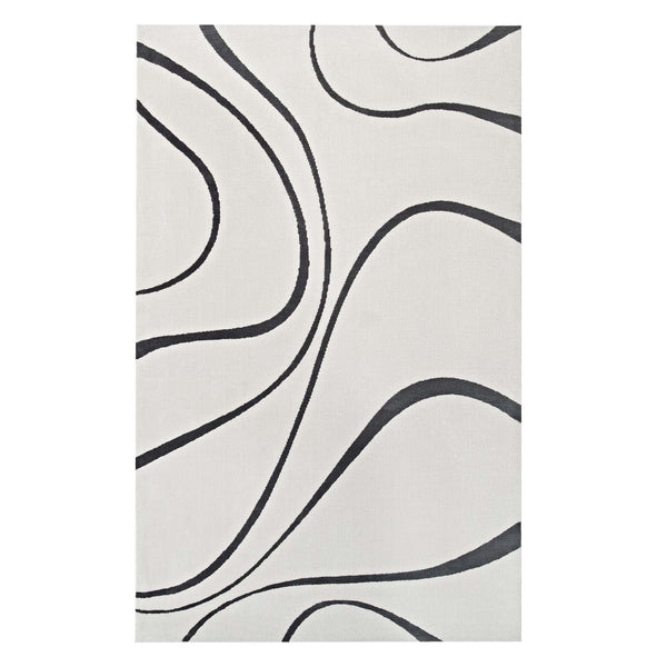 Modway Therese Abstract Swirl 5x8 Area Rug in Ivory and Charcoal