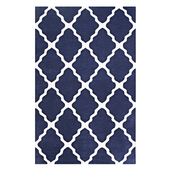 Modway Marja Moroccan Trellis 5x8 Area Rug in Navy and Ivory