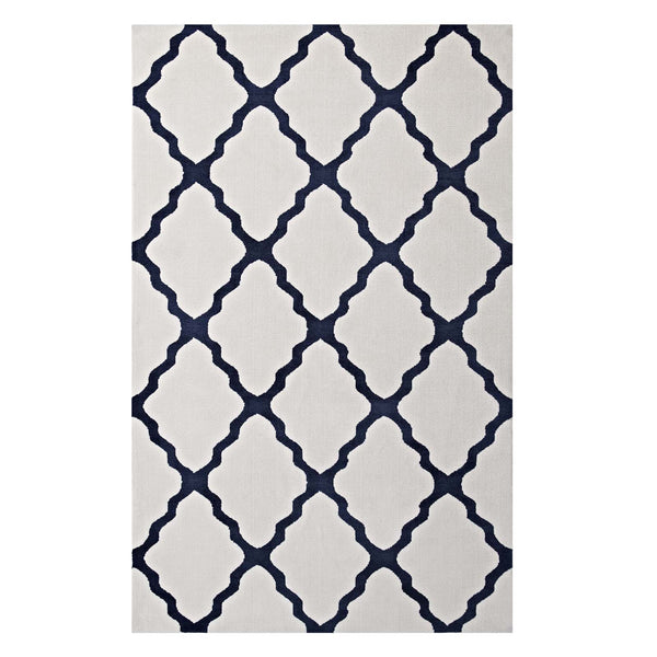 Modway Marja Moroccan Trellis 8x10 Area Rug in Ivory and Navy