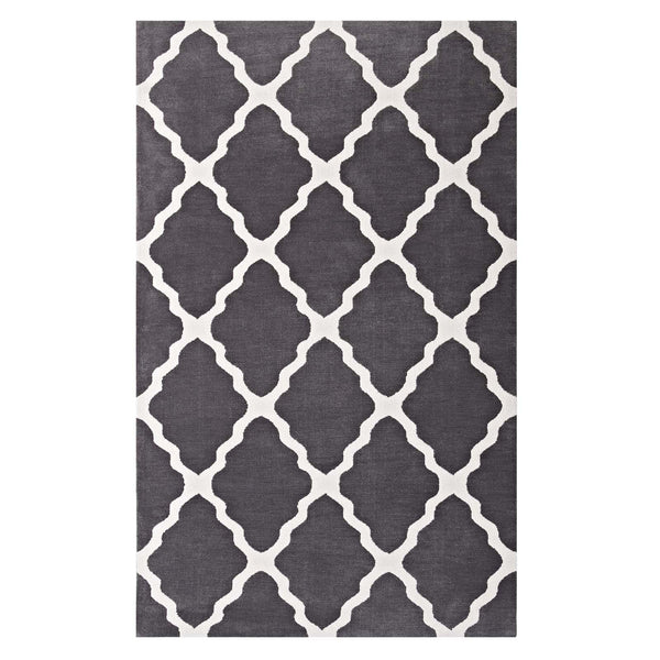 Modway Marja Moroccan Trellis 5x8 Area Rug in Charcoal and Ivory