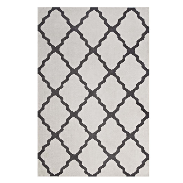 Modway Marja Moroccan Trellis 5x8 Area Rug in Ivory and Charcoal
