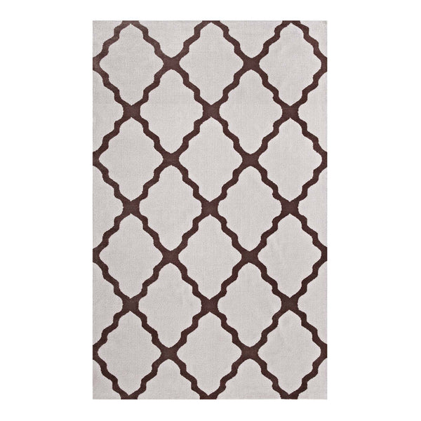 Modway Marja Moroccan Trellis 5x8 Area Rug in Brown and Gray