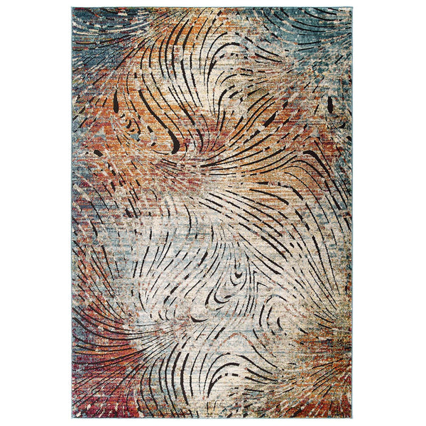 Modway Tribute Ember Contemporary Modern Vintage Mosaic 8x10 Area Rug in Multicolored