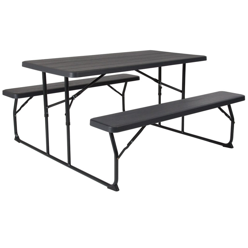 Flash Furniture RB-EBB-1470FD-GG Insta-Fold Charcoal Wood Grain Folding Picnic Table and Benches