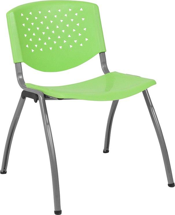 Flash Furniture RUT-F01A-GN-GG HERCULES Series 880 lb. Capacity Green Plastic Stack Chair with Titanium Frame