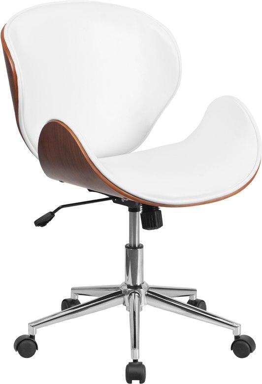 Flash Furniture SD-SDM-2240-5-WH-GG Mid-Back Walnut Wood Swivel Conference Chair in White Leather