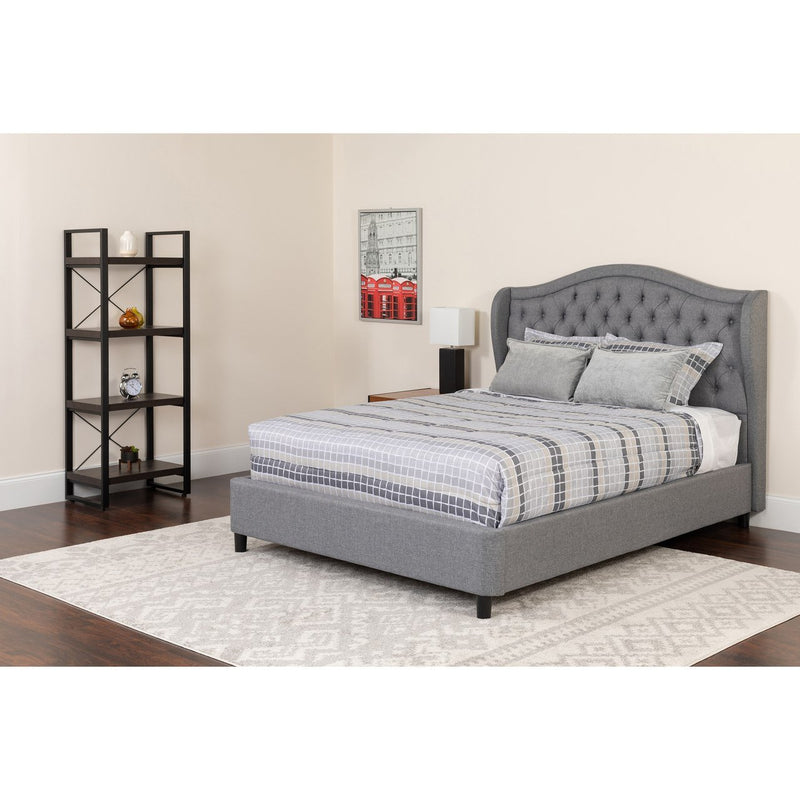 Flash Furniture SL-126-GG Valencia Tufted Upholstered Queen Size Platform Bed in Light Gray Fabric