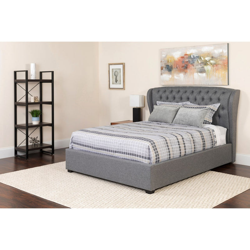 Flash Furniture SL-141-GG Barletta Tufted Upholstered Full Size Platform Bed in Light Gray Fabric
