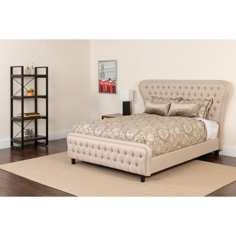 Flash Furniture SL-BM-101-GG Cartelana Tufted Upholstered Full Size Platform Bed in Beige Fabric and Gold Accent Nail Trim with Pocket Spring Mattress