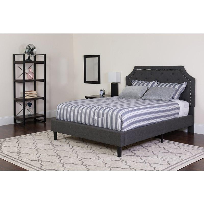 Flash Furniture SL-BM-13-GG Brighton Twin Size Tufted Upholstered Platform Bed in Dark Gray Fabric with Pocket Spring Mattress