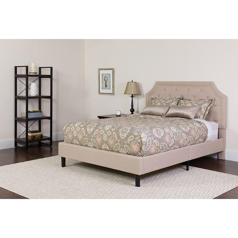 Flash Furniture SL-BM-2-GG Brighton Full Size Tufted Upholstered Platform Bed in Beige Fabric with Pocket Spring Mattress