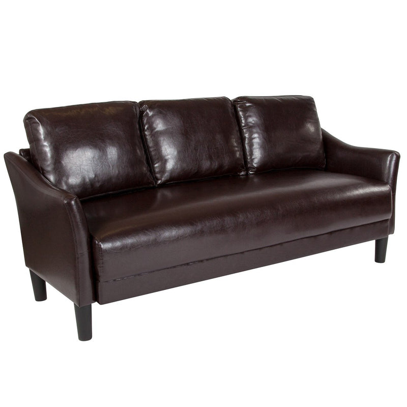 Flash Furniture SL-SF915-3-BRN-GG Asti Upholstered Sofa in Brown Leather