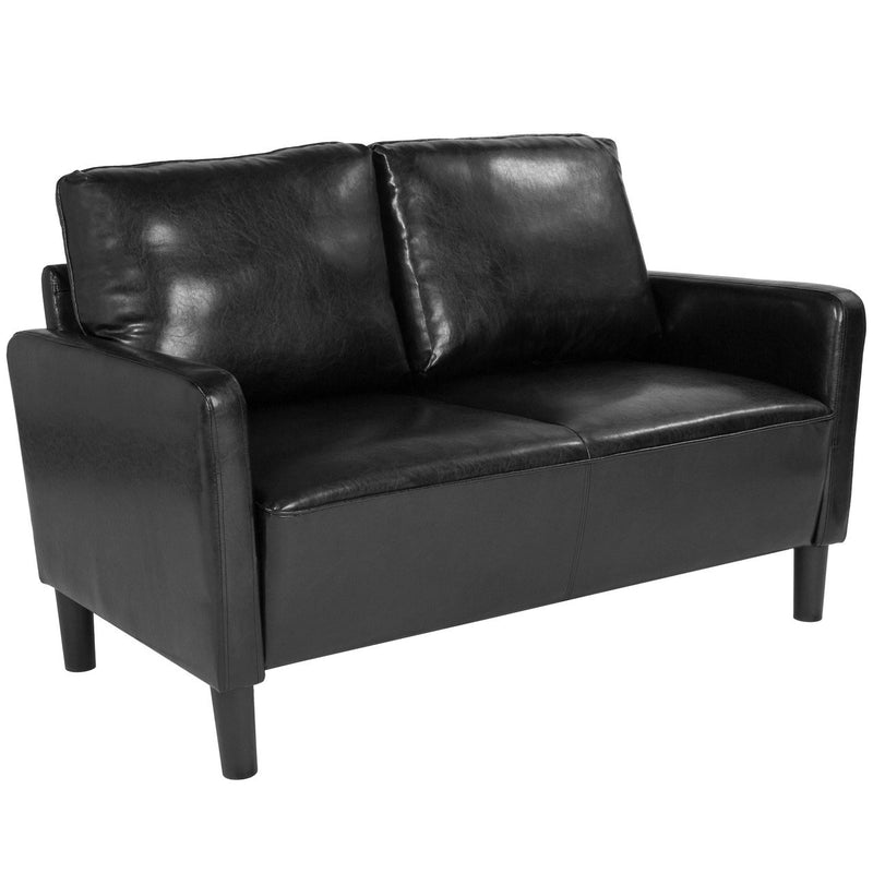 Flash Furniture SL-SF918-2-BLK-GG Washington Park Upholstered Loveseat in Black Leather