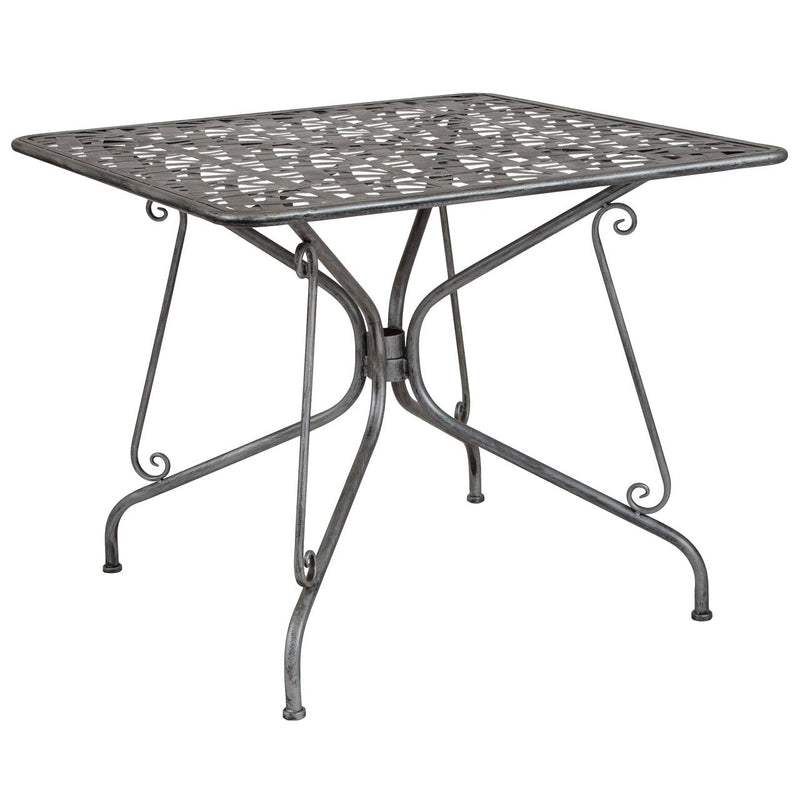 "Flash Furniture SR-CF-FJ-T047S-90-GG Agostina Series 35.25"" Square Antique Silver Indoor-Outdoor Steel Patio Table"