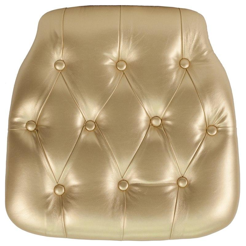 Flash Furniture SZ-TUFT-GOLD-GG Hard Gold Tufted Vinyl Chiavari Chair Cushion