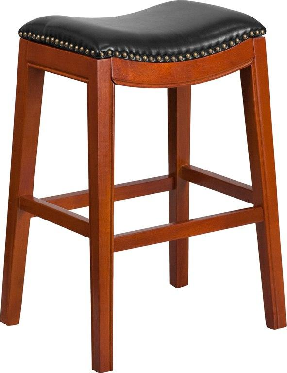 Flash Furniture TA-411030-LC-GG 30'' High Backless Light Cherry Wood Barstool with Black Leather Seat