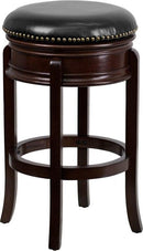 Flash Furniture TA-68829-CA-GG 29'' High Backless Cappuccino Wood Barstool with Black Leather Swivel Seat
