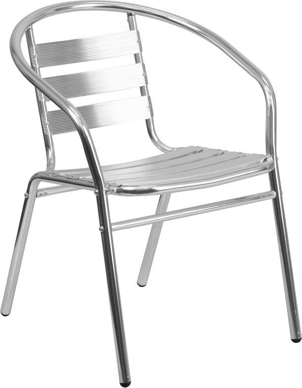 Flash Furniture TLH-017B-GG Commercial Aluminum Indoor-Outdoor Restaurant Stack Chair with Triple Slat Back and Arms