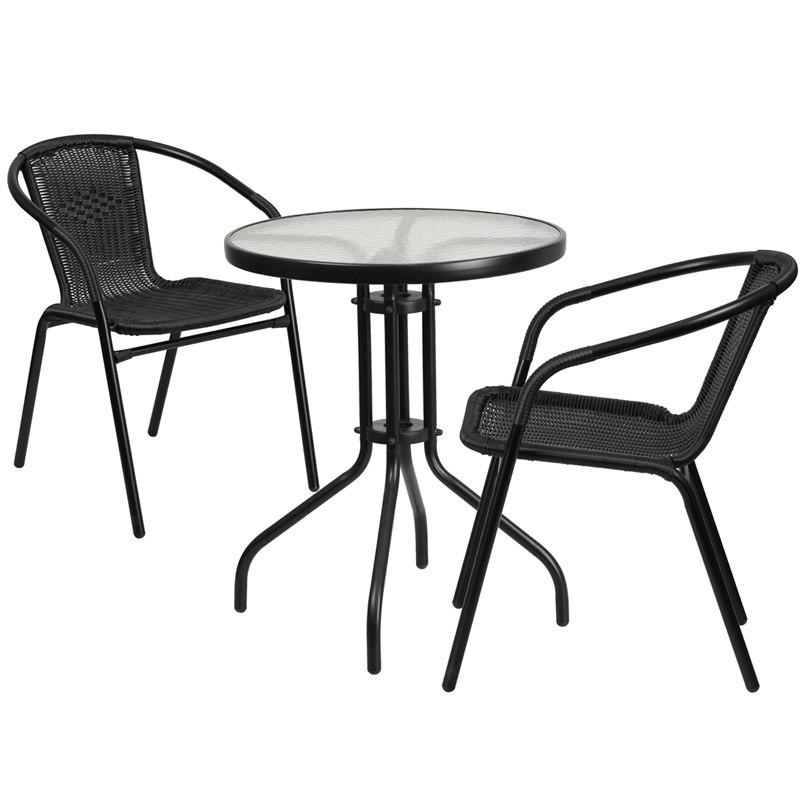 Flash Furniture TLH-071RD-037BK2-GG 23.75'' Round Glass Metal Table with 2 Black Rattan Stack Chairs