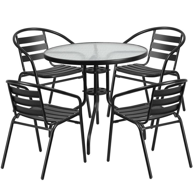 Flash Furniture TLH-072RD-017CBK4-GG 31.5'' Round Glass Metal Table with 4 Black Metal Aluminum Slat Stack Chairs