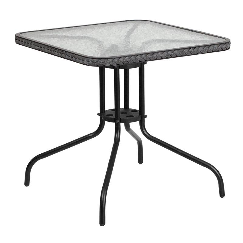 Flash Furniture TLH-073R-GY-GG 28'' Square Tempered Glass Metal Table with Gray Rattan Edging