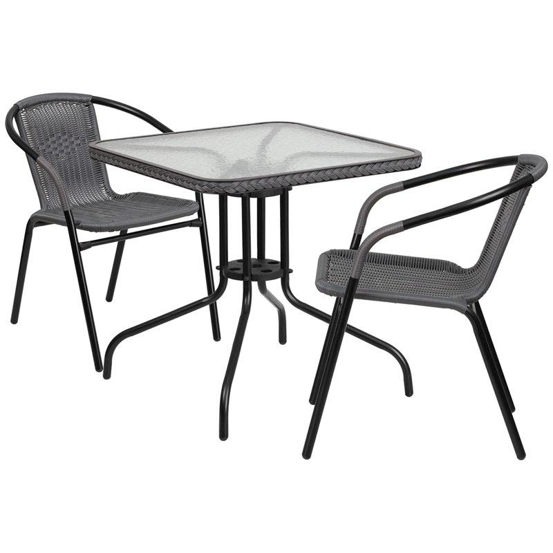 Flash Furniture TLH-073SQ-037GY2-GG 28'' Square Glass Metal Table with Gray Rattan Edging and 2 Gray Rattan Stack Chairs