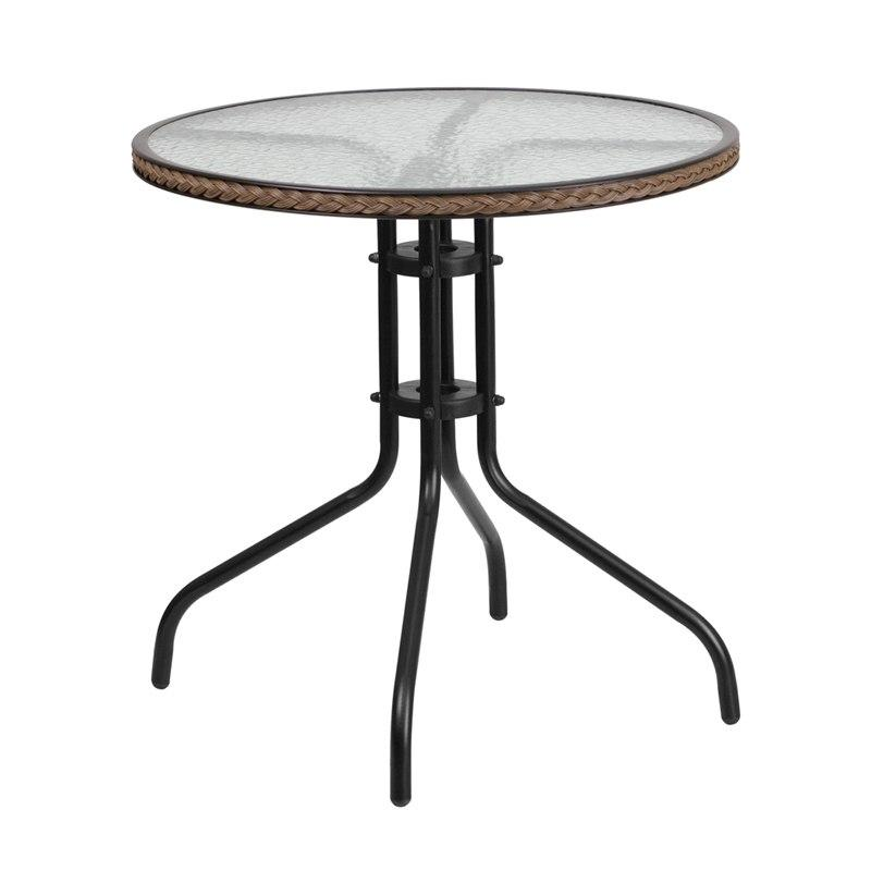 Flash Furniture TLH-087-DK-BN-GG 28'' Round Tempered Glass Metal Table with Dark Brown Rattan Edging